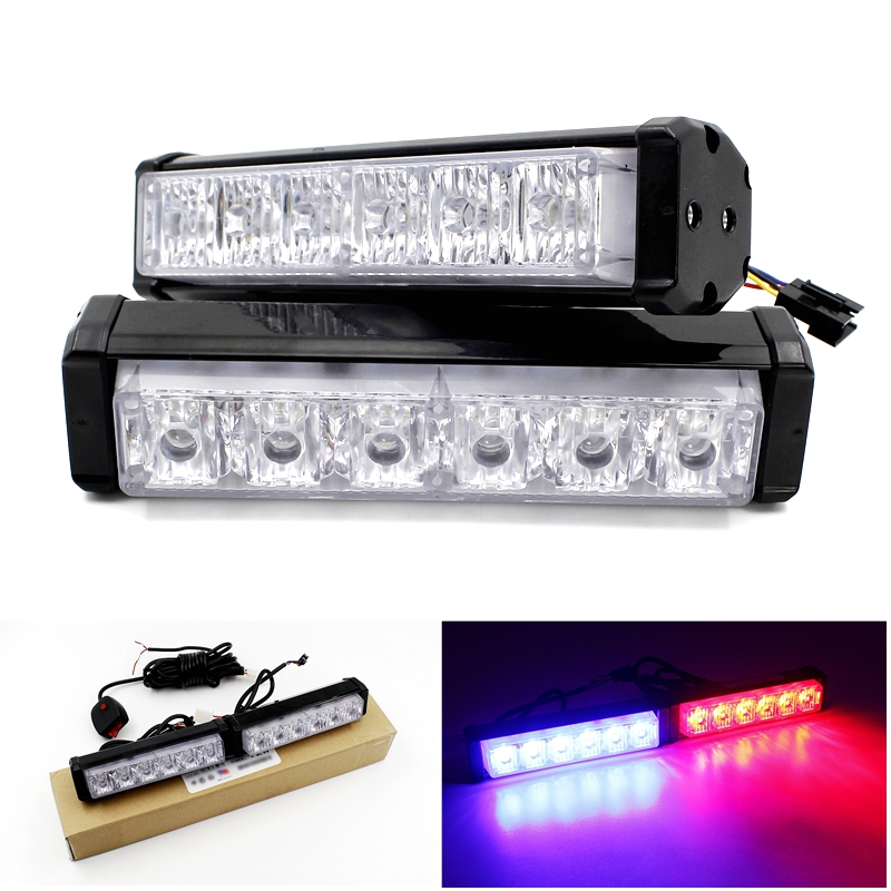 12 led strobe flash warning light bar car styling white. Black Bedroom Furniture Sets. Home Design Ideas