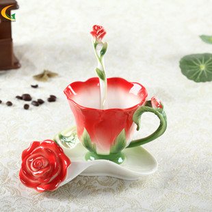 Freeship HG Homwart Enamel red roses creative gifts home furnishings Valentine Mug(China (Mainland))
