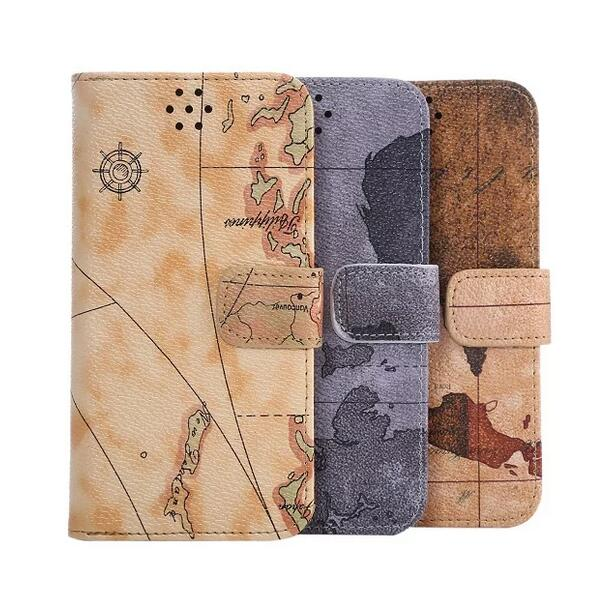 10PCS,2016 New Magnetic Vintage World Map PU Leather Wallet Clutch Card Case Stand Flip Cover for Samsung Galaxy S7 Phone Case(China (Mainland))