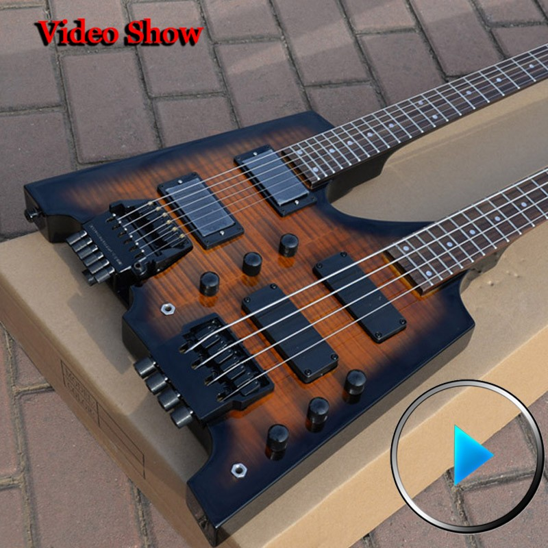 double neck guitar Sunburst tiger pattern headless guitar musical instruments chinese electric guitar free shipping<br><br>Aliexpress