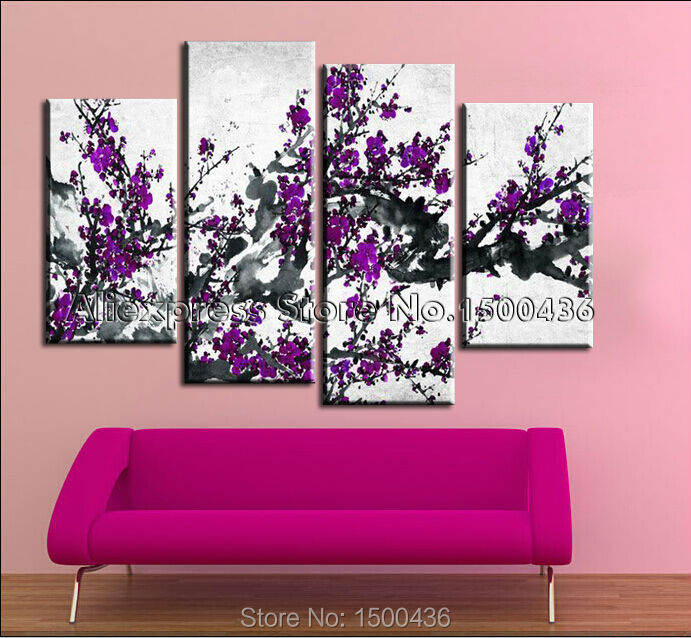 Purple Flower Oil Painting Abstract Wall Art Picture: 100% Hand Painted Canvas Painting Abstract Purple Flower