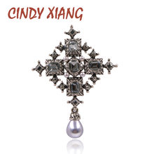 Cindy Xiang Baru Crystal Cross Bros Unisex Pria dan Wanita Fashion Vintage Besar Pin Warna Hitam Keren Desain Gaya Baroque(China)