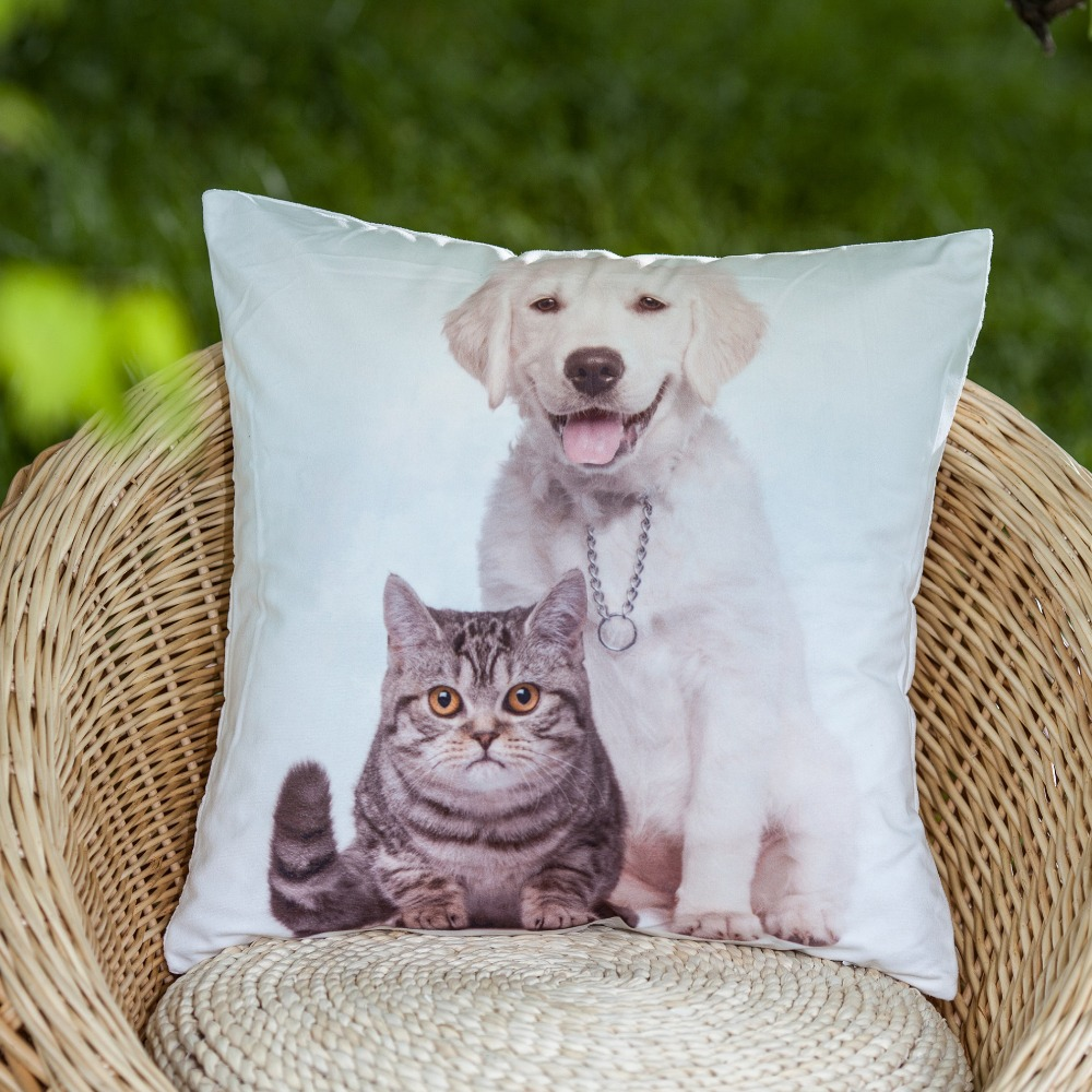 microsoft 3D photo print Dog and Cat animal pattern decorative pillow cover throw pillow cover cushion