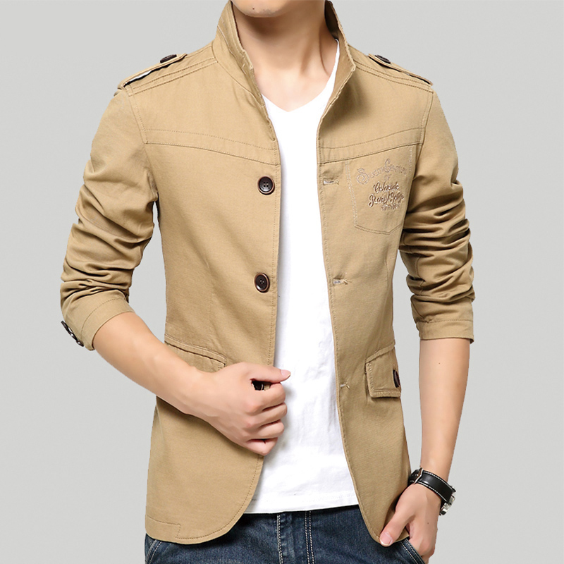 Spring and Summer Men's Jackets Solid Cotton Casual Coat Men Army Military Khaki Jacket Plus Size M-5XL(China (Mainland))