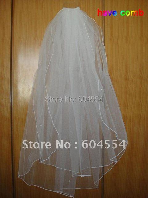В наличии оптовая продажа цена белый / слоновая кость тюль-line бусины фаты свадебные ...