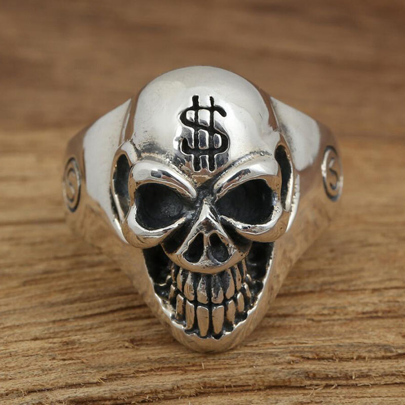 Handmade Thai silver dollar sign personality skull real 925 sterling silver 925 jewelry for men wedding ring fine jewelry G33<br><br>Aliexpress