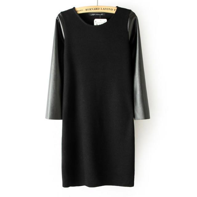 2015 Promotion Polyester Acetate Spandex New Fashion Female Dress Brief Dresses Women's Slim Chiffon Patchwork Sheath Slash Neck(China (Mainland))