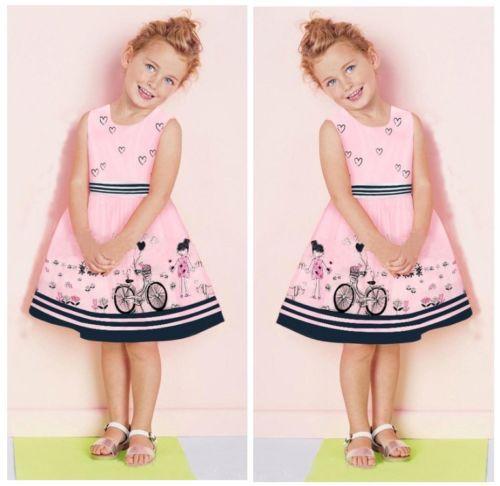 2015 Pink Kids Baby Girls Summer Beauty Anime Dress Cartoon Love One-piece 2-7Y(China (Mainland))