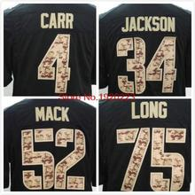 Free Shipping 4 Derek Carr 52 Khalil Mack 75 Howie Long 34 Bo Jackson Black Salute TO Service Jersey(China (Mainland))