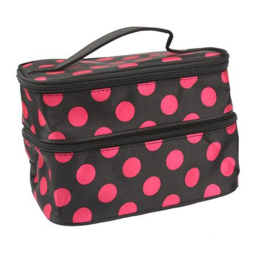 Гаджет  New Arrival Unique Dots Pattern Double Layer Cosmetic Bag Black  None Изготовление под заказ