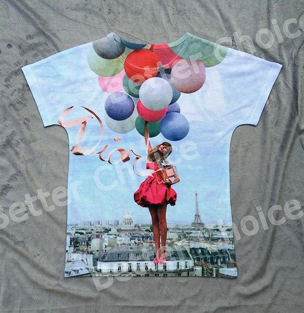 Track Ship+New Fresh Hot T-shirt Top Tee Miss Girl Hug Perfume with Air Balloon in Sky 0418(Hong Kong)