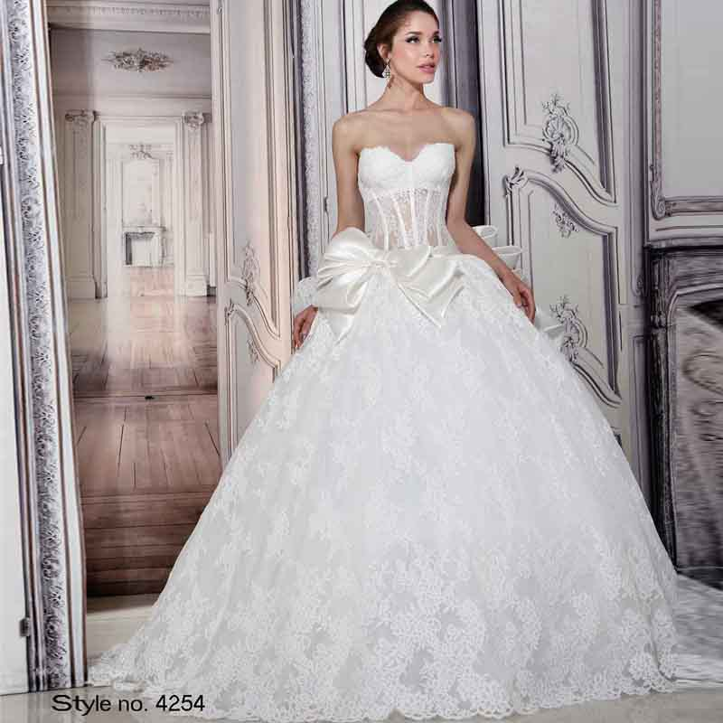 Buy im279 on sale high quality lace ball for Open back bow wedding dress