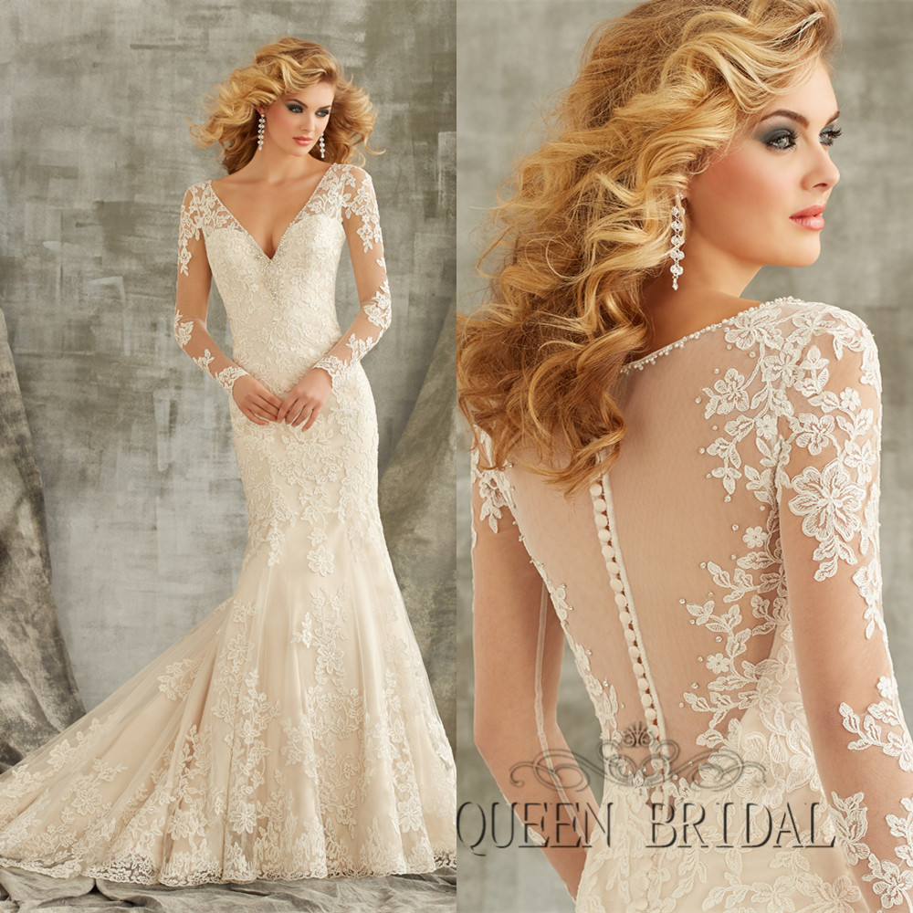 Wedding Dress See Through Lace Wedding Dress dress wedding picture more detailed about see through beaded applique mermaid long sleeve white lace bride vestidos de noiva