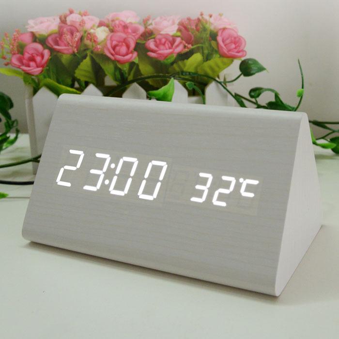 2015 Bamboo Wooden LED Alarm Clock Despertador Temperature Sounds Control Electronic Desktop Digital Clocks Multi Color Shape(China (Mainland))