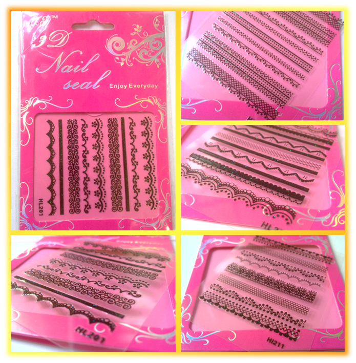 30 Packs Black Lace Strip Trimming Nail Art Stickers 3D Supplies For Manicure Decorate Hot Sell Black HL201-230(China (Mainland))