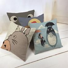 Hayao Miyazaki Style 45*45cm Home Decorative Pillow Totoro Printed Throw Pillow Car Home Decor Linen Cotton Cushion Cojines
