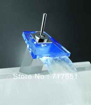 LED Faucet Kitchen Bathroom Glass Basin Waterfall Faucet Mixer Tap HOT!!!