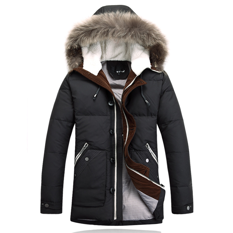 Здесь можно купить  2015 BRAND Long Down Jackets Winter Jacket Men Coat 90% White Duck Thicken Outwear Hooded Real Fur Men