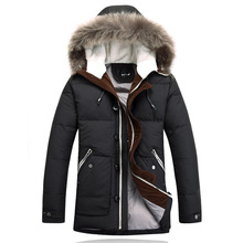 2015 BRAND Long Down Jackets Winter Jacket Men Coat 90% White Duck Thicken Outwear Hooded Real Fur Men's Parka Plus Size 4XL6148(China (Mainland))
