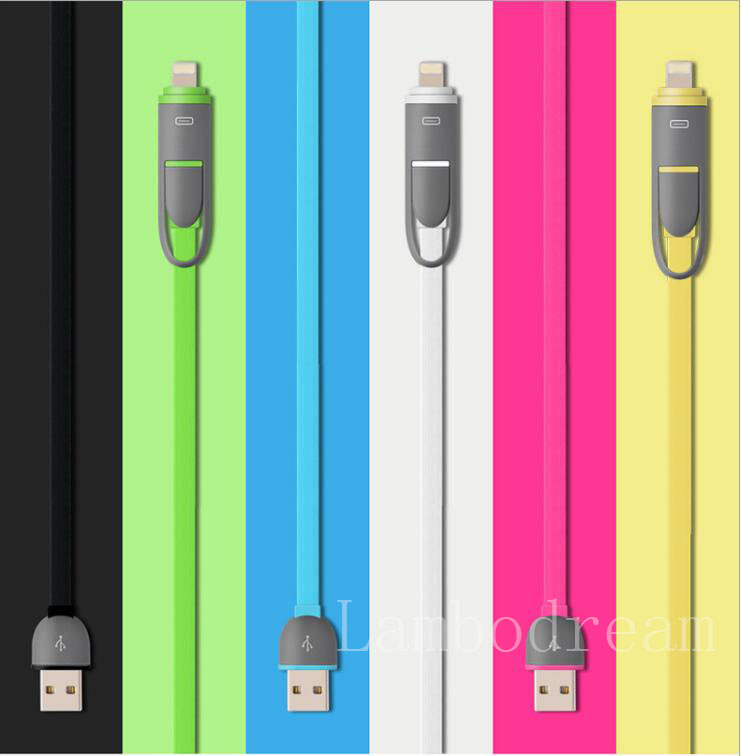 Fast Charging Micro USB Cable + 8Pin 2 in 1 Sync Data Charger For iPhone 7 6s IOS 10 Cable For Samsung HTC Xiao mi Huawei Meizu(China (Mainland))