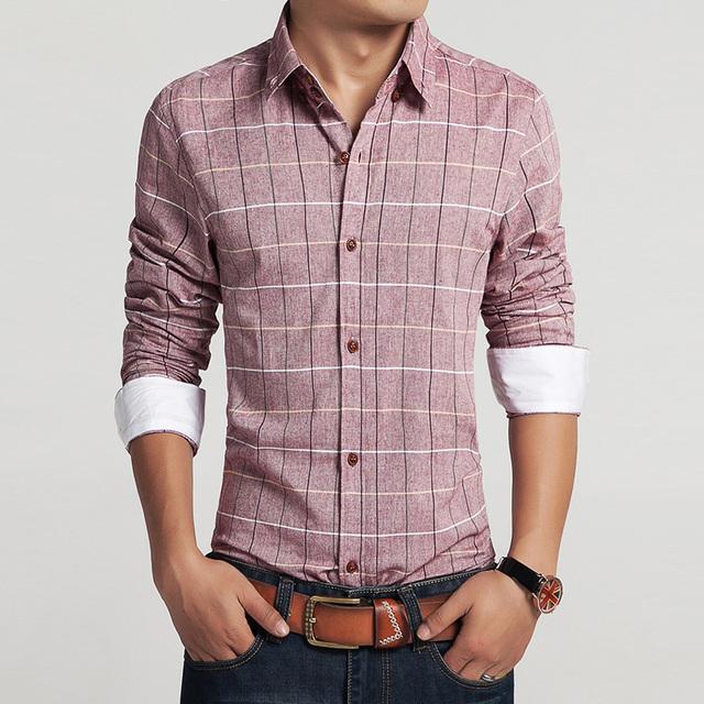 2015 мужчин 100% хлопок ретро рубашки марка горячая человек весна осень с длинным ...