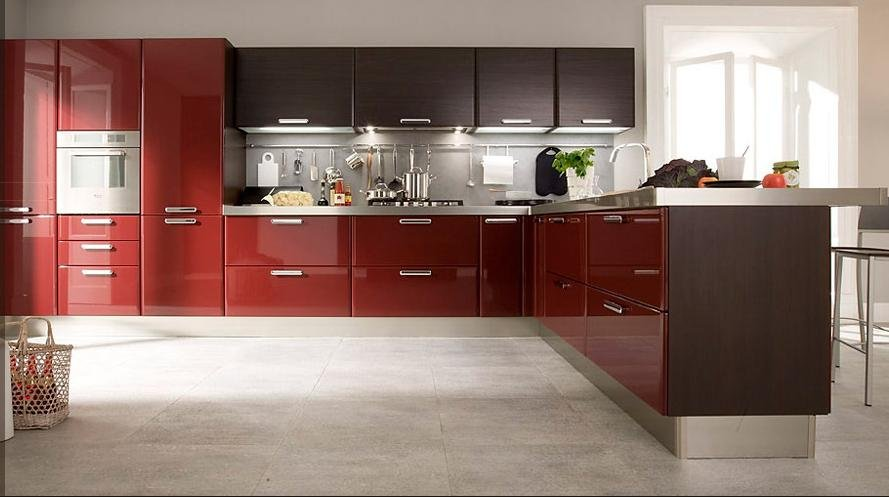 2016 customized high gloss red lacquer kitchen cabinets in for Kitchen cabinets 700mm high
