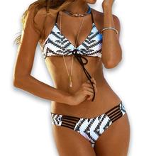 2016 Bandeau Bikini Women Retro Aztec Bandage Halter Bikini Pin up Swimwear Brazilian Biquines String Swimsuit