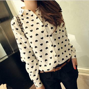 2014 spring auturn Fashion vintage women's shirt chiffon love heart sweet black Women long-sleeve casual blouse - girl' store