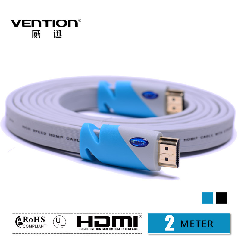 2m blue/black flat HDMI cable Standard male to male Computer and TV cable 1.4V 1080P HD Ethernet 3D Ready HDTV HQ Cable Vention(China (Mainland))