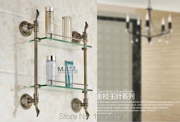 Banho Commodity prateleira de Bronze óleo-friccionado vidro duplo Tiers com toalha Bar Wall Mount(China (Mainland))