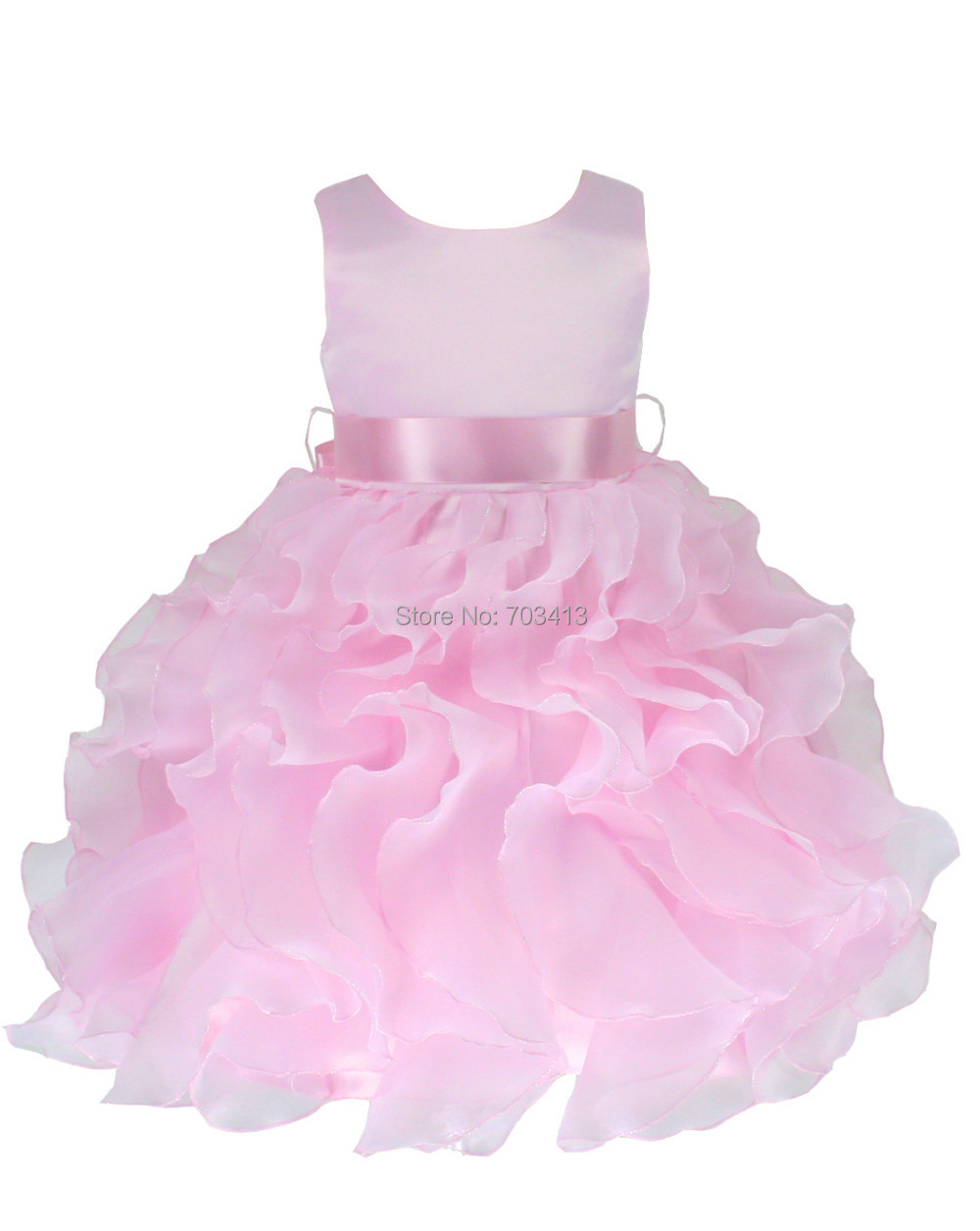 P232B free shipping Pink Satin Baby Christening/Pageant Infant Girl Dress S M L XL(China (Mainland))