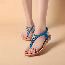 Women Sandals 2015 Bohemia Sandals Metal Beading Heart Button Comfortable Clip Toe Beach Shoes 1Pair(China (Mainland))