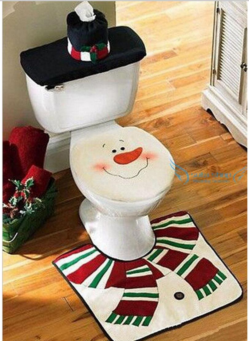 Christmas decoration for home santa toilet 3pcs lot seat cover rug bathroom se santa claus - Ideas decoracion navidad ...