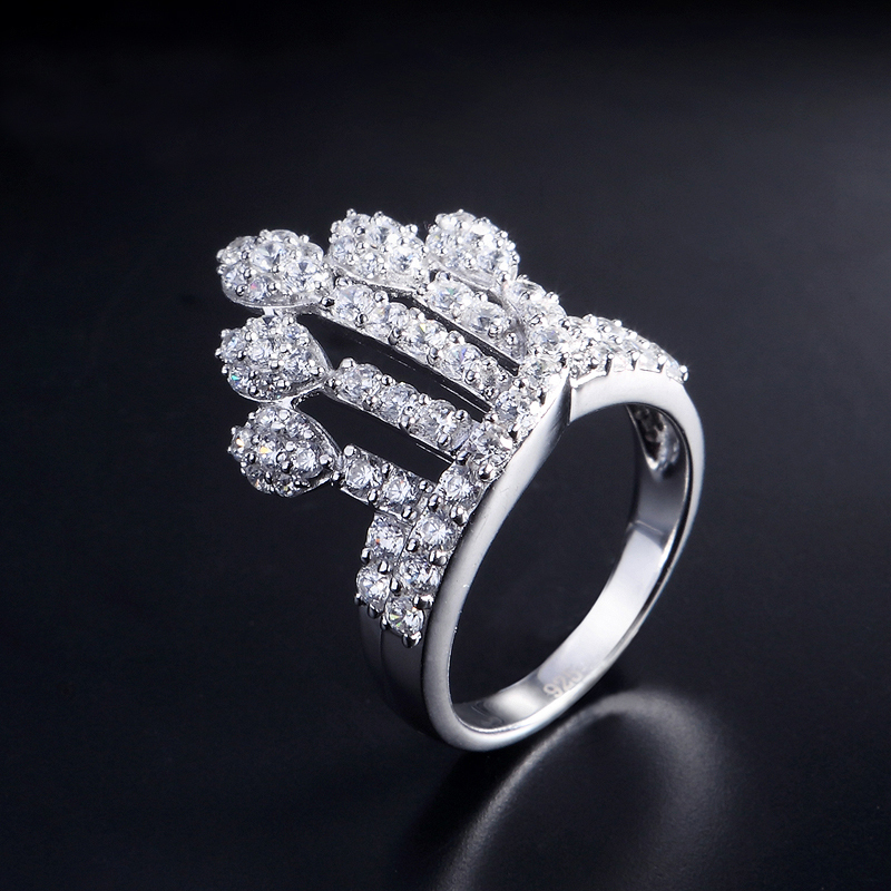 New Arrival jewelry 925 silver ring luxurious crown design for women lady ,top quality 100% hand made ,valentine's day gift(China (Mainland))