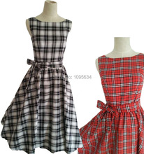 plus sizes 1950s hepburn style tartan print belted black red retro rockabilly dress plus size S-6XL