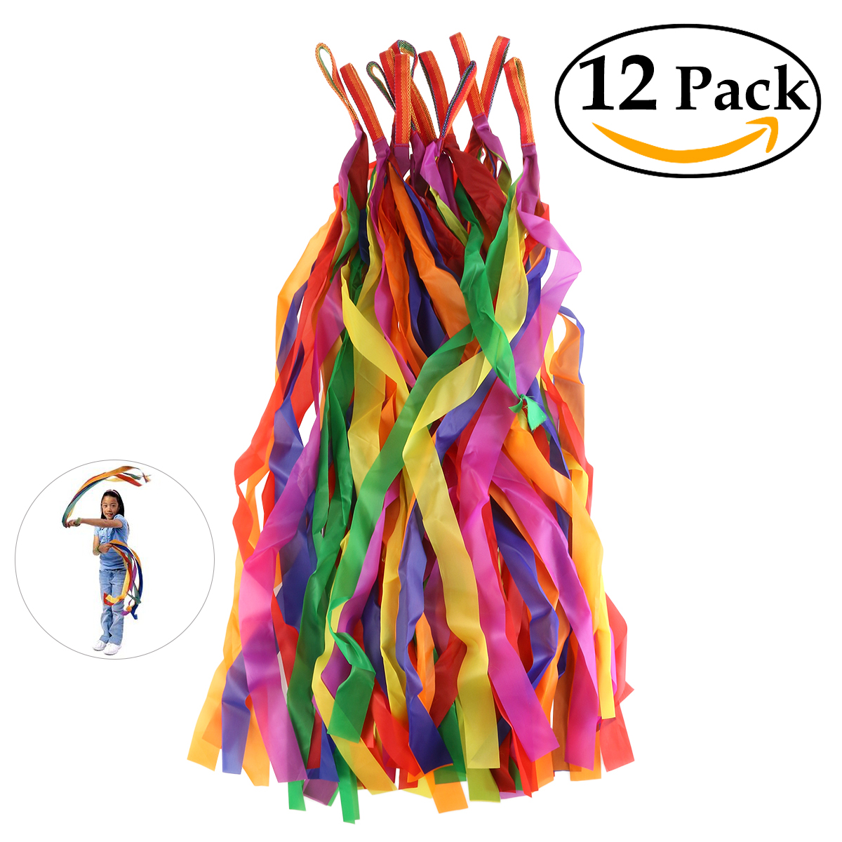BESTORARD 12pcs Rainbow Colored Ribbon Splice Colorful Gym Streamer Baton Twirling Rod Rhythmic Art Gymnastic Dance Ribbon(China (Mainland))