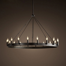Buy ZX Loft American Retro Iron Pendant Lamp Vintage Industrial E14 LED Droplight Round Cafe Restaurant Bar Knight Candle Chandelier for $188.02 in AliExpress store