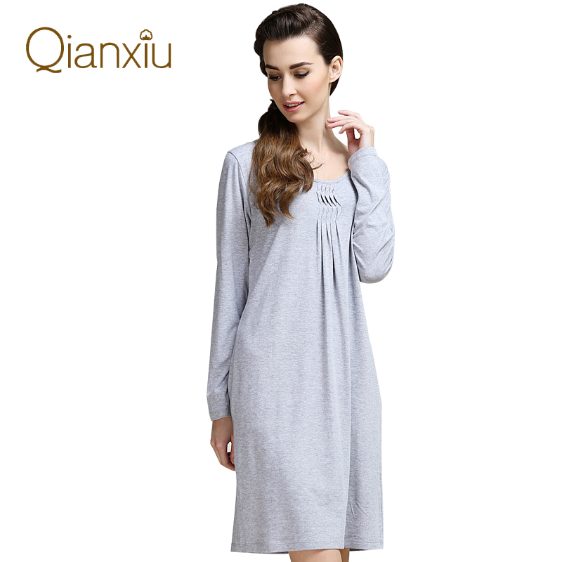 2015-Autumn-Brand-Pajamas-dress-Women-Modal-Sleepwear ...