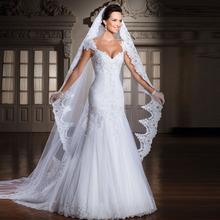 Custom Made 2015 Vestido De Noivas New Design Backless Appliques Lace Up Back Bridal Gown Wedding Dresses With Detachable Train(China (Mainland))