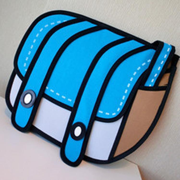 2016 New Fashion 2D Bags Novelty Back To School Bag 3D Drawing Cartoon Comic Handbag Lady Shoulder Bag Messenger 6 Color Gift(China (Mainland))