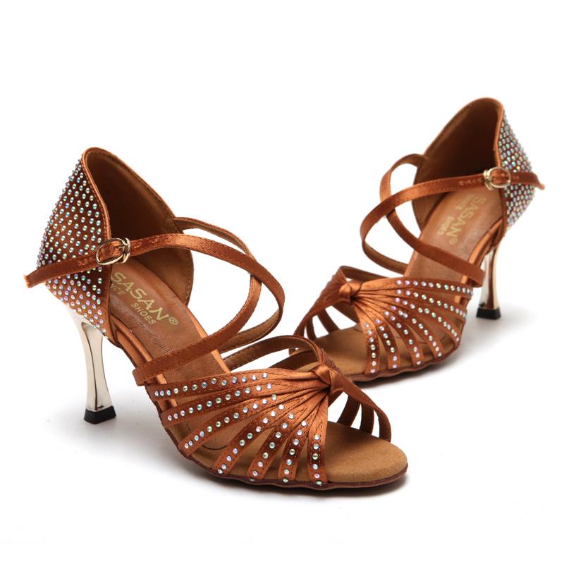 Фотография Female adult dance shoes women high heeled Female Latin Dance Latin children shoes Latin dance gold and diamond root