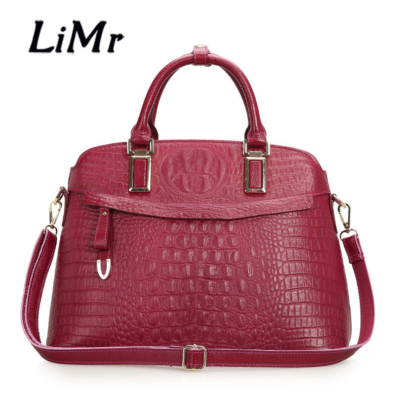 LiMr Alligator Handbags Brand Women Genuine Leather Shoulder Bags 2015 European and American Style  Cowhide Leather Shell Bags<br><br>Aliexpress