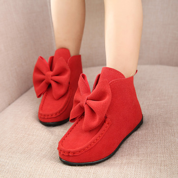 J Ghee 2017 spring autumn fashion children boots big butterfly knot leather sneakers girls dancing boots kids princess shoes