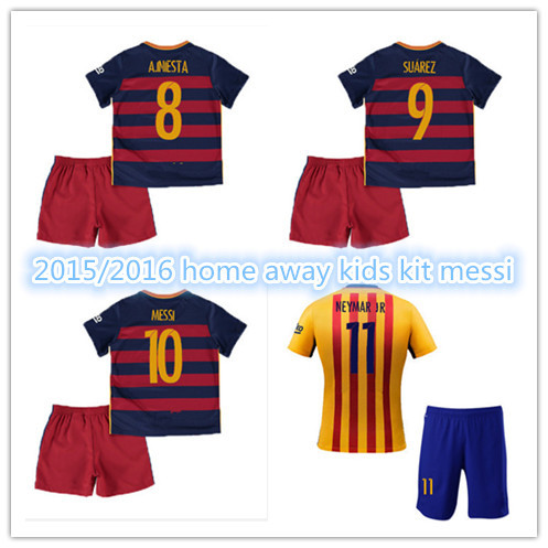 KIDS KIT 2016 soccer jersey NEYNAR JR MESSI Home Away Children Set 15 16 XAVI I RAKITIC A INESTA ninos Tourists yellow camisas(China (Mainland))