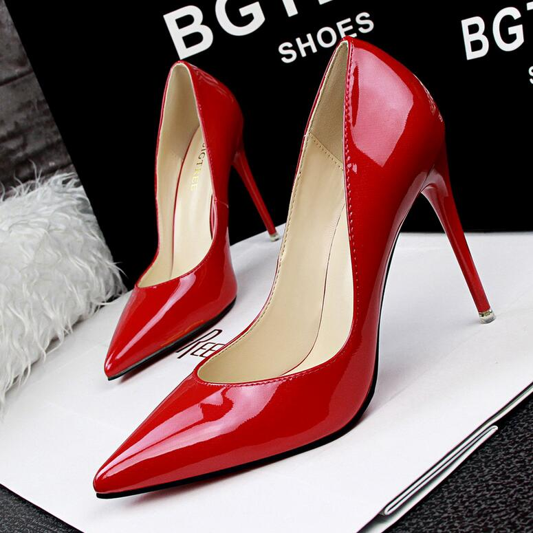 Fashion 2016 Sexy Women Shoes Red Bottom Pumps Utral 10CM High Heels Shoes Pointed Toe Brief Lady Mature Shoes sapatos de mulher