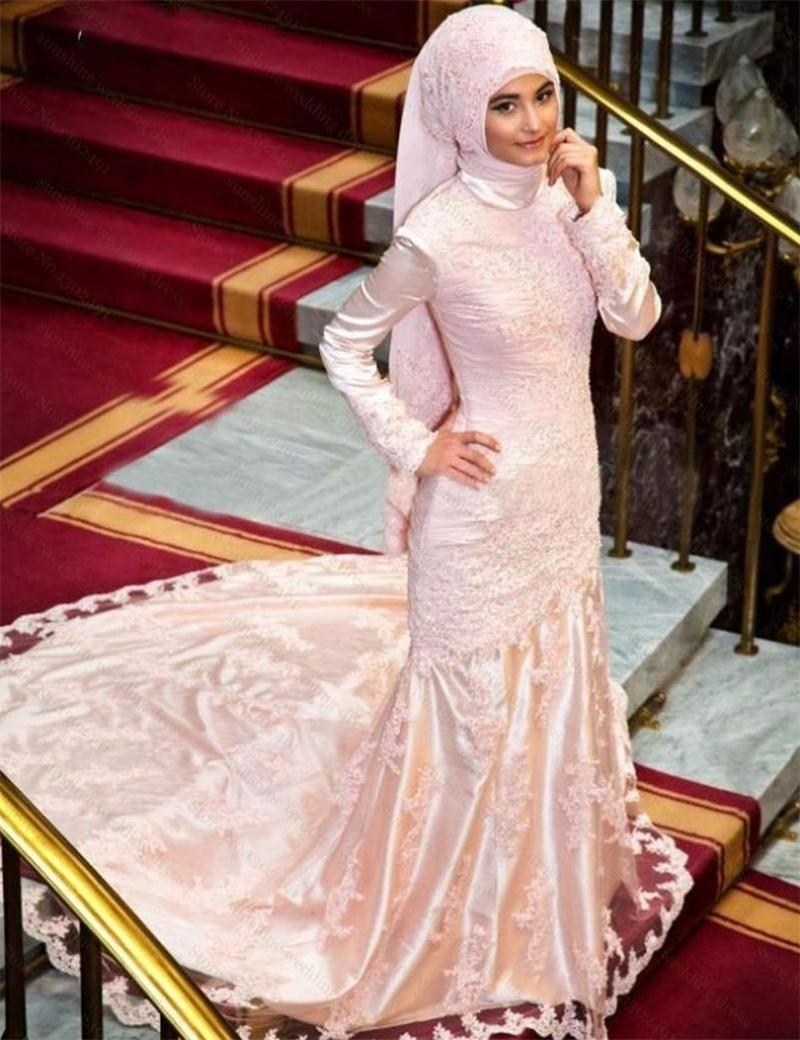 2016 Elegant Long Sleeve Fishtail Gold Islamic Wedding Dresses With Appliques Vintage Online Store(China (Mainland))