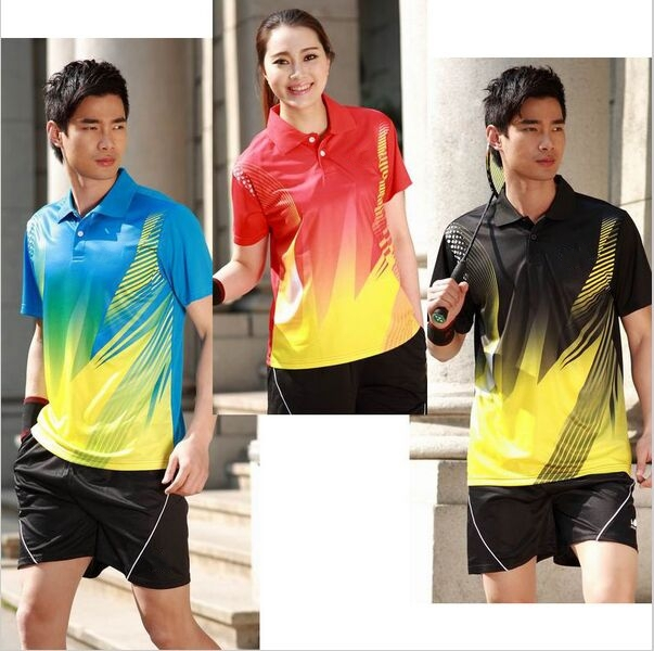 free shipping fashion tri-color couple butter-fly table tennis Jerseys clothing sportswear men women Table Tennis shirt polo 363(China (Mainland))