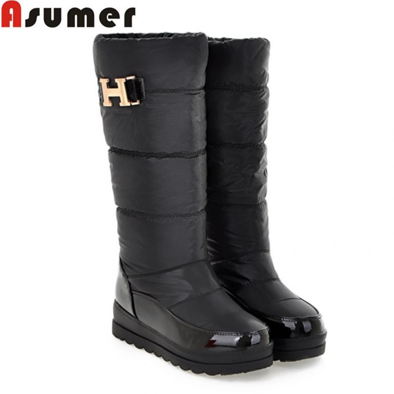Гаджет  AISIMI Big size 34-43 new women winter boots platform warm knee high boots fashion flat Down fur half snow boots woman shoes None Обувь