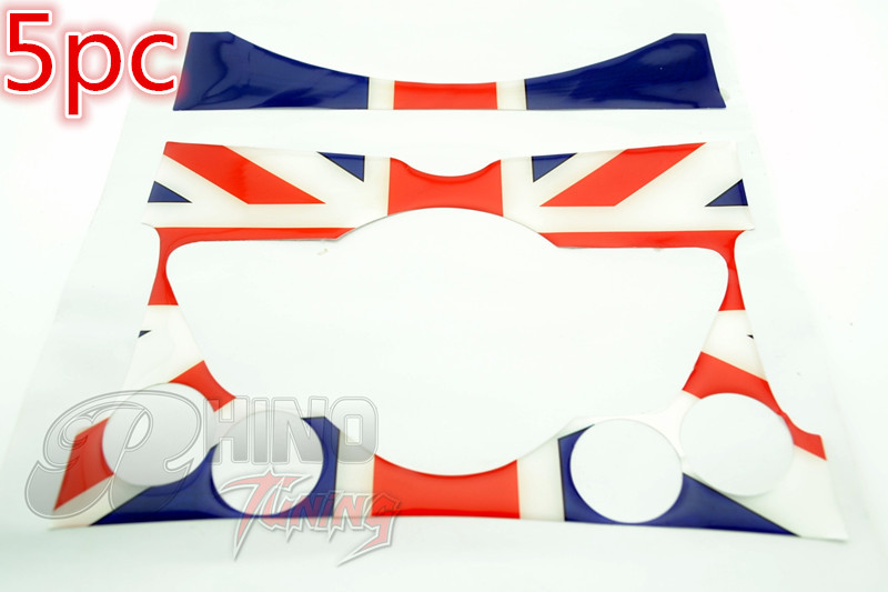 5 Sets* Union Jack Center Interior Panel Dashboard Auto Decals for R55 R56 R57 S JCW Car Sticker 34(China (Mainland))