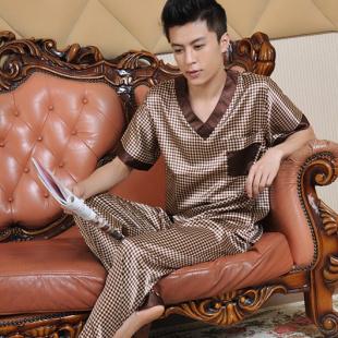 Male summer short-sleeve silk sleepwear 2016 luxury Pajamas men clothing casual lounge set(China (Mainland))
